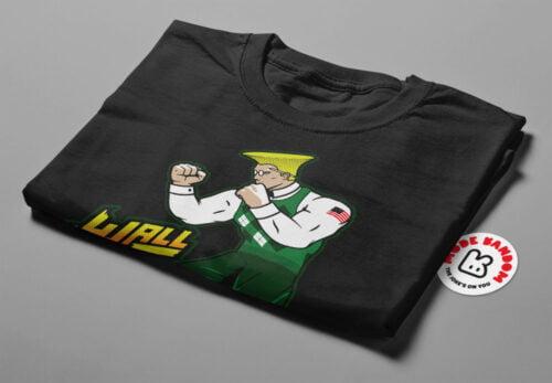Wall Street Fighter Argyle Illustrated Mode Random Men's Tee - black - folded short