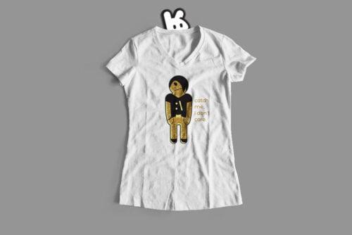 Emo Gingerbread Man Illustrated Mode Random Ladies' Tee - white