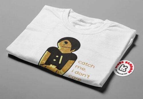 Emo Gingerbread Man Illustrated Mode Random Men's Tee - white - folded short