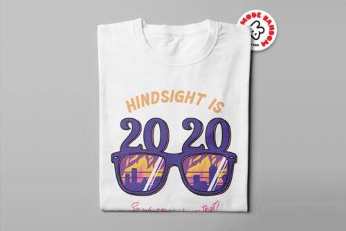 2020 Hindsight Illustrated Mode Random Men's Tee - white - folded long