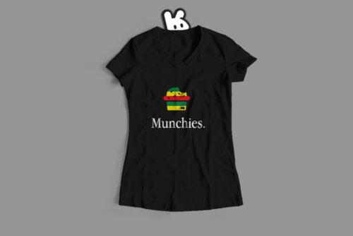 Munchies Apple Logo Illustrated Mode Random Ladies' Tee - black