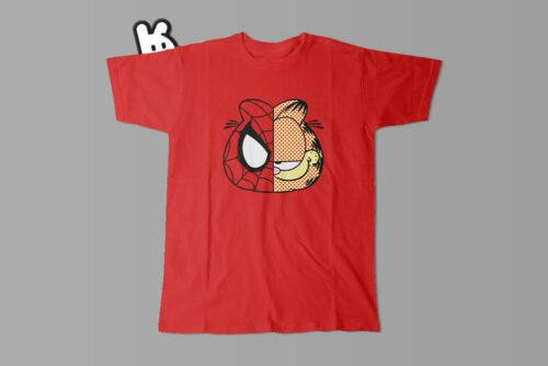 Garfield Spiderman Illustrated Mode Random Men's Tee - red
