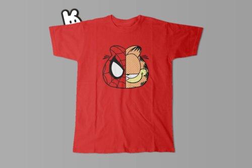 Garfield Spiderman Illustrated Mode Random Men's Tee - red