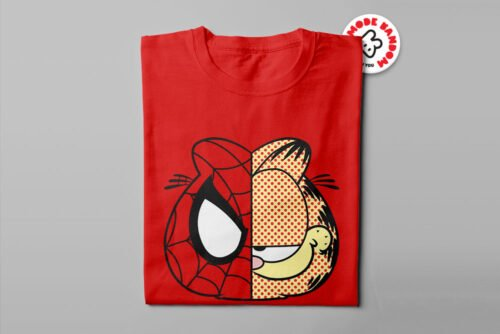 Garfield Spiderman Illustrated Mode Random Men's Tee - red - folded long