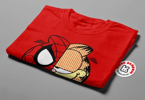 Garfield Spiderman Illustrated Mode Random Men's Tee - red - folded short
