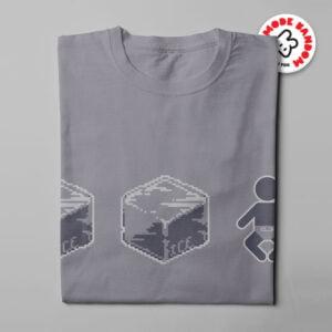 Ice Ice Baby Illustrated Mode Random Men's Tee - steel - folded long