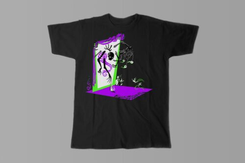 Skelly Cool Gothic Fable Forge Illustrated Men's Tee - black