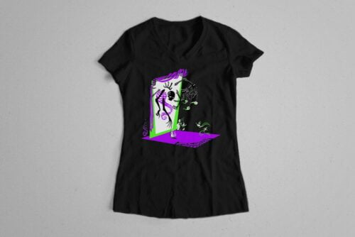 Skelly Cool Gothic Fable Forge Illustrated Ladies' Tee - black