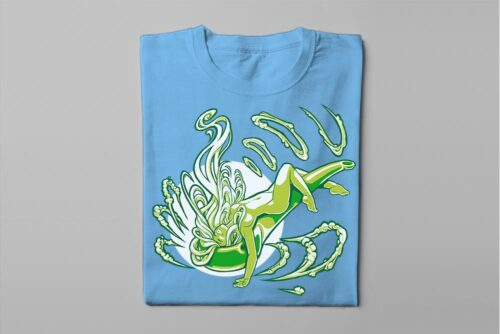 Sexy Smoke Babe Fable Forge Illustrated Men's Tee - sky blue - folded long