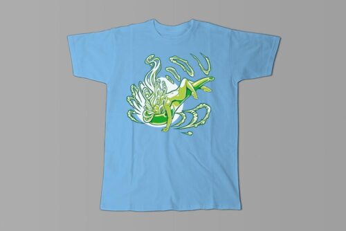 Sexy Smoke Babe Fable Forge Illustrated Men's Tee - sky blue