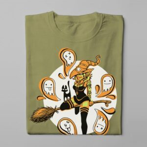 Funky Witch Fable Forge Illustrated Men's Tee - olive - folded long