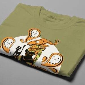 Funky Witch Fable Forge Illustrated Men's Tee - olive - folded short
