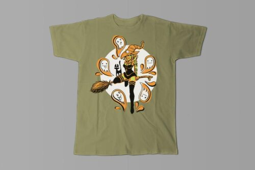 Funky Witch Fable Forge Illustrated Men's Tee - olive
