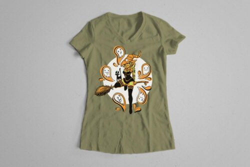 Funky Witch Fable Forge Illustrated Ladies' Tee - olive