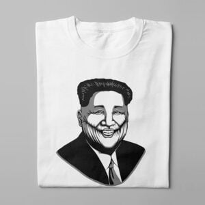 Kim Jong-un Stencil Men's Tee - white - folded long