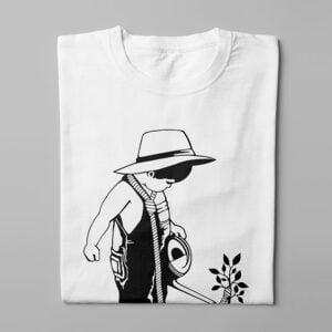 Social Entrapment Stencil Men's Tee - white - folded long