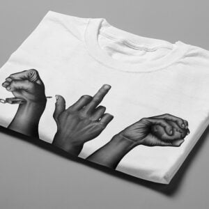 Rage Against the System Stencil Men's Tee - white - folded short