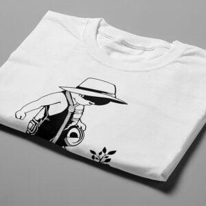 Social Entrapment Stencil Men's Tee - white - folded short