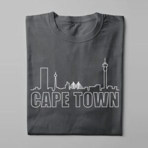 Cape Town Skyline Humorous Men's Tee - charcoal - folded long