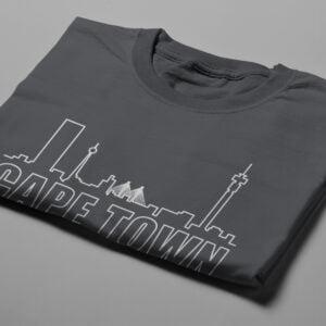 Cape Town Skyline Humorous Men's Tee - charcoal - folded short