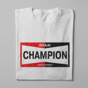 Champion Spark Plugs Braai Spoof Men's Tee - white - folded long