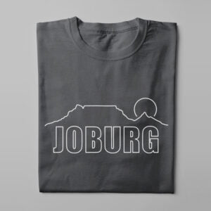 Johannesburg Skyline Humorous Men's Tee - charcoal - folded long