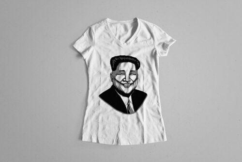 Kim Jong-un Stencil Ladies' Tee - white