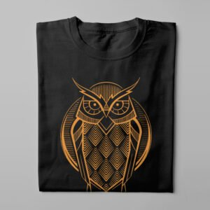 Gamma Ray Owl Geometric Men's Tee - black - folded long