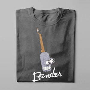 Bender Futurama Guitar Kitchen Dutch Parody Men's Tee - charcoal - folded long