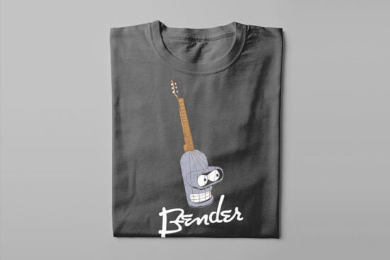 Bender Futurama Guitar Kitchen Dutch Parody Men's Tee - charcoal - folded long