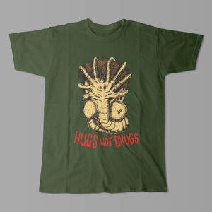 Hugs Not Drugs Aliens Movie Kitchen Dutch Parody Men's Tee - bottle green