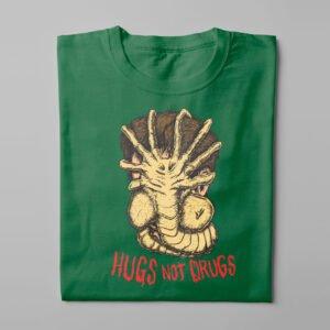Hugs Not Drugs Aliens Movie Kitchen Dutch Parody Men's Tee - bottle green - folded long