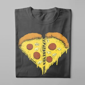 Pizza Heart Kitchen Dutch Parody Men's Tee - charcoal - folded long