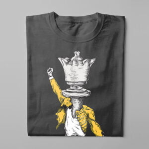 Queen Freddie Mercury Chess Kitchen Dutch Parody Men's Tee - charcoal - folded long