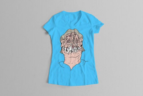 Who's A Pritty Trevor Paul Illustrated Ladies' Tee - sky blue