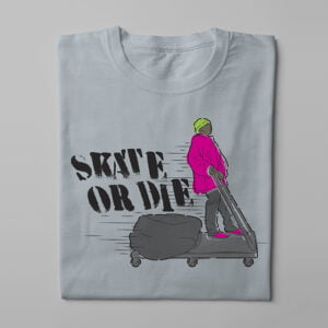 Skate Or Die 80s Graffiti Parody Men's Tee - steel - folded long
