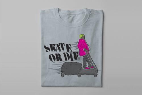 Skate Or Die 80s Graffiti Parody Men's Tee - steel - folded long