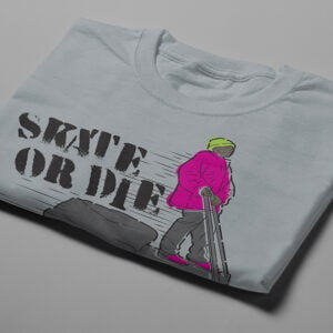 Skate Or Die 80s Graffiti Parody Men's Tee - steel - folded short