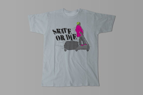 Skate Or Die 80s Graffiti Parody Men's Tee - steel