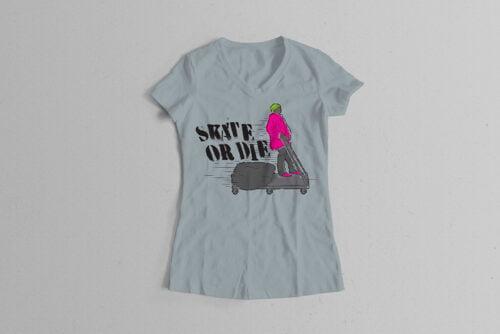 Skate Or Die 80s Graffiti Parody Ladies' Tee - steel