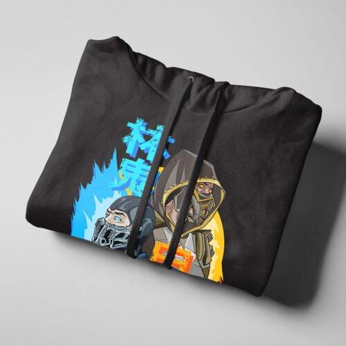 Mortal Kombat Gaming Movie Fan Art Black Hoodie - folded strings