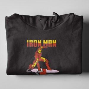 Ironman Ironing Tshirt Terrorist Parody Black Hoodie - folded