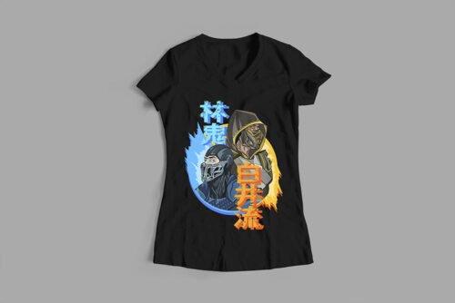 Mortal Kombat Gaming Movie Fan Art Ladies' T-shirt - black