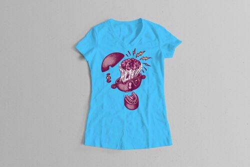 Explodo Trevor Paul Illustrated Ladies' Tee - sky blue
