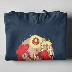 Mario Brothers Tshirt Terrorist Parody Navy Hoodie - folded