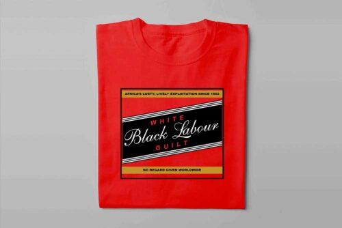 Carling Black Label Black Labour White Guilt Laugh it Off Parody Men's T-shirt - red - folded long