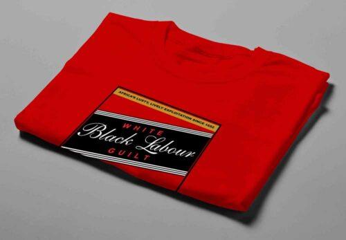 Carling Black Label Black Labour White Guilt Laugh it Off Parody Men's T-shirt - red - folded short