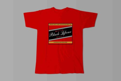 Carling Black Label Black Labour White Guilt Laugh it Off Parody Men's T-shirt - red