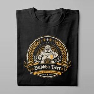 Buddha Beer Drinking Men's T-shirt - black - folded long