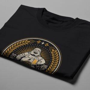 Buddha Beer Drinking Men's T-shirt - black - folded short